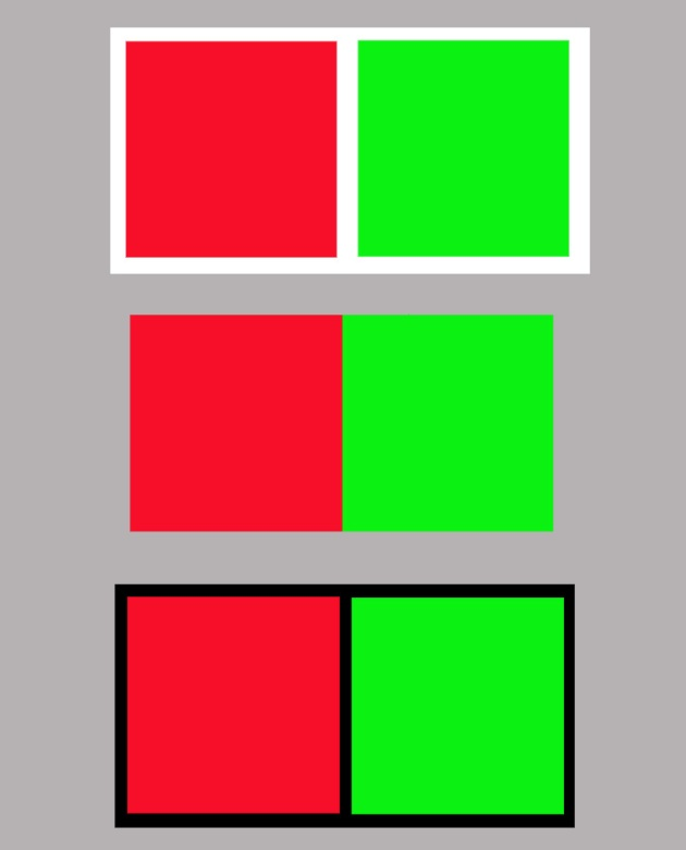 red & green showing different strengths