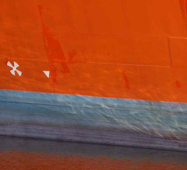 orange hull, violet below.