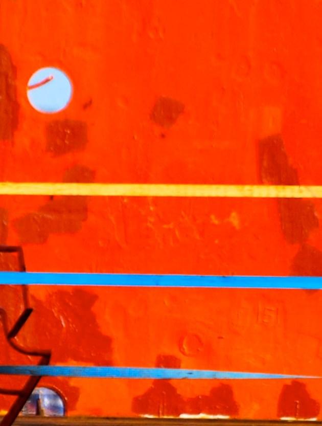 orange hull, blue tape