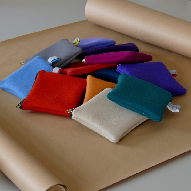 wool and linen pouches