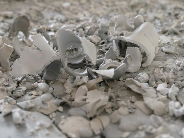 Scraps of excess clay at Myer Halliday's studio